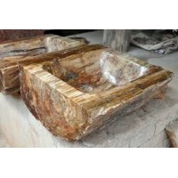 Carved Naturally Petrified Wood Sink (Log Shape)