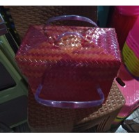 Upcycled Woven Square Basket (with lid)